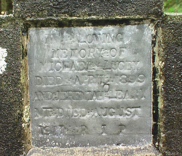 Gravestone of Michael Lucey who died 1899 at Inchigeelagh
